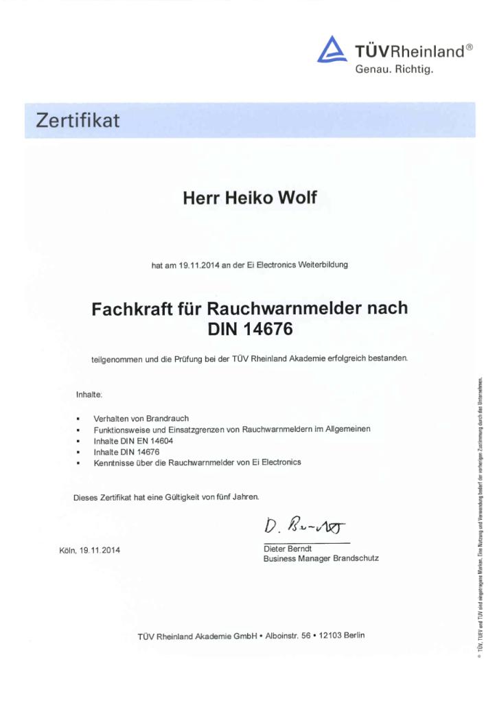 Zertifikat - Heiko Wolf - Rauchmelder